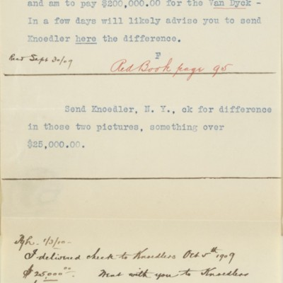 Copies of memoranda between F.W. McElroy and [Henry Clay Frick], 30 September 1909 to 3 January 1910
