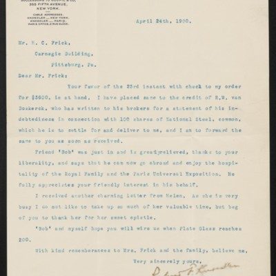 Letter from Roland F. Knoedler to Henry Clay Frick, 24 April 1900