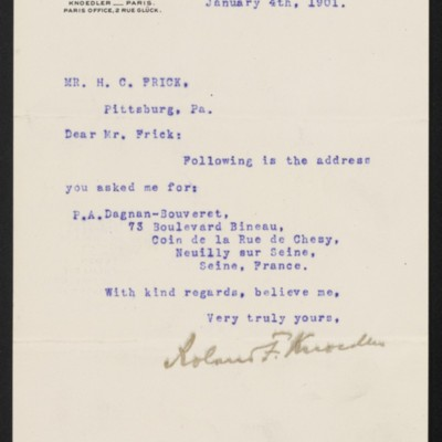 Letter from Roland F. Knoedler to Henry Clay Frick, 4 January 1901