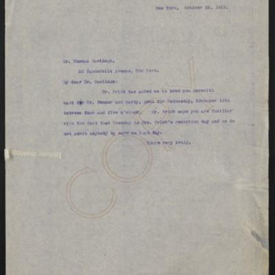 Letter from [Alice Braddel] to Thomas Hastings, 28 October 1919