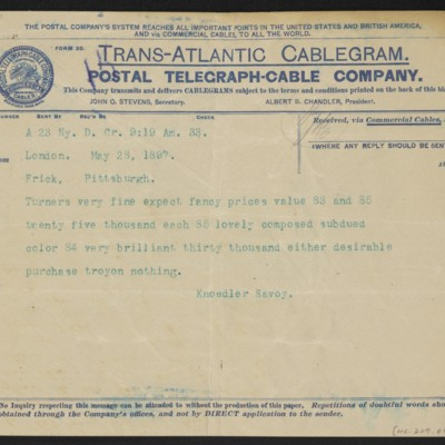 Cable from [Roland F.] Knoedler to Henry Clay Frick, 28 May 1897