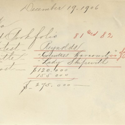 Memorandum prepared by Henry Clay Frick's secretary, 19 December 1906