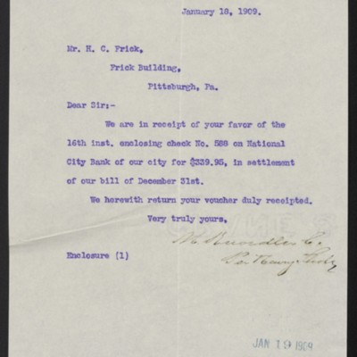 Letter from M. Knoedler & Co. to Henry Clay Frick, 18 January 1909