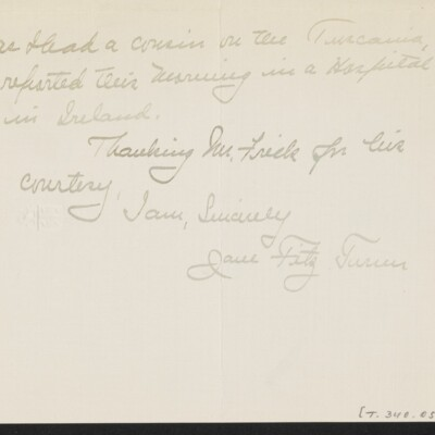 Letter from Jane Fitz Turner to J. Howard Bridge, 10 February 1918 [page 3 of 4]