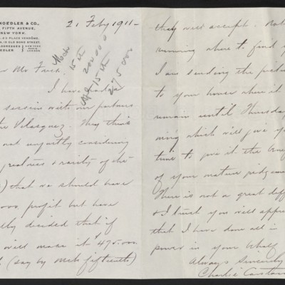 Letter from Charles Carstairs to [Henry Clay] Frick, 21 February 1911