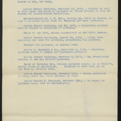 Correspondence re paintings loaned to Metropolitan Museum of Art, New York, [1909]