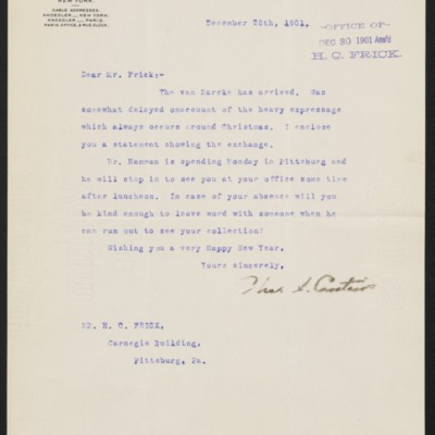Letter from Charles S. Carstairs to Henry Clay Frick, 28 December 1901