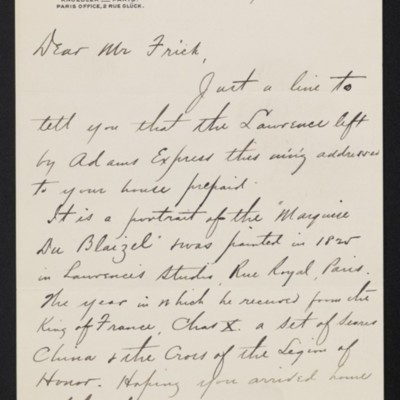 Letter from Charles S. Carstairs to Henry Clay Frick, 12 February 1902