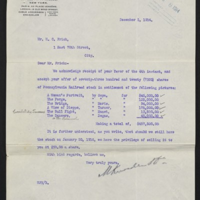 Letter from M. Knoedler & Co. to H.C. Frick, 5 December 1914 [front]
