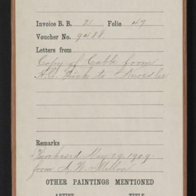 "Red envelope for purchase of Turner's ""Mortlake Terrace,"" 1909"