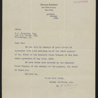 Letter from Duveen Brothers to W.J. Naughton, 2 October 1919
