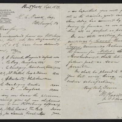Letter from M. Knoedler & Co. to Henry Clay Frick, 13 September 1899