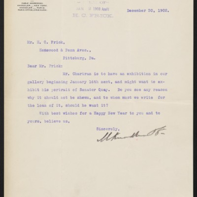 Letter from M. Knoedler & Co. to Henry Clay Frick, 30 December 1902