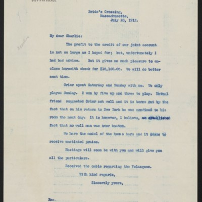 Letter from Henry Clay Frick to Charles S. Carstairs, 23 July 1912