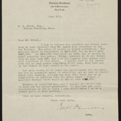 Letter from Joseph Duveen to Henry Clay Frick, 9 June 1916