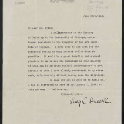 Letter from Lucy C. Driscoll to [H.C.] Frick, 23 June 1916