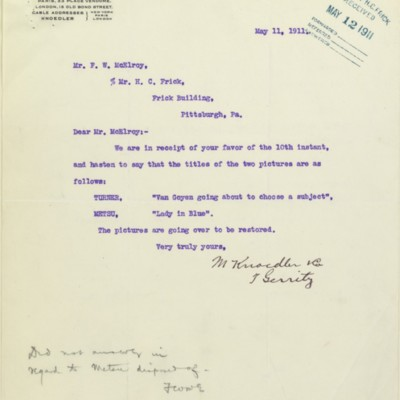 Letter from T. Gerrity of M. Knoedler & Co. to F.W. McElroy, 11 May 1911