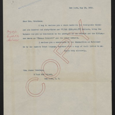 Letter from [Henry Clay Frick] to Alice Creelman, 18 May 1915