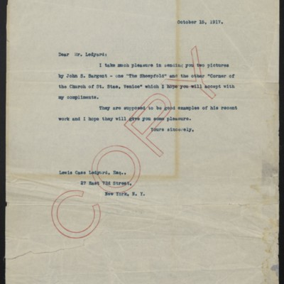 Letter from [H.C. Frick] to Lewis Cass Ledyard, 15 October 1917