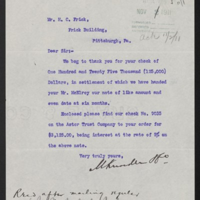 Letter from M. Knoedler & Co. to Henry Clay Frick, 31 October 1911