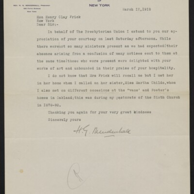 Letter from H.G. Mendenhall to Henry Clay Frick, 12 March 1918
