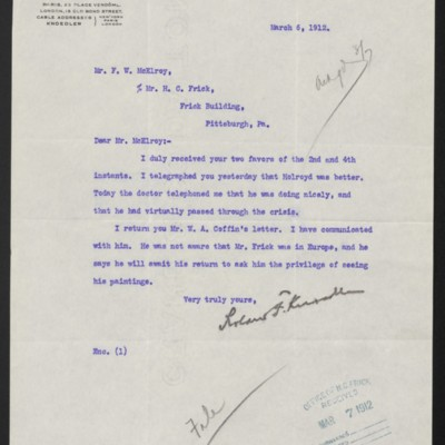 Letter from Roland F. Knoedler to F.W. McElroy, 6 March 1912