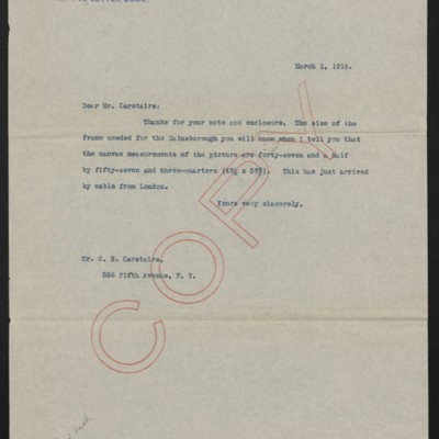 Letter from [Henry Clay Frick] to [Charles] S. Carstairs, 1 March 1916