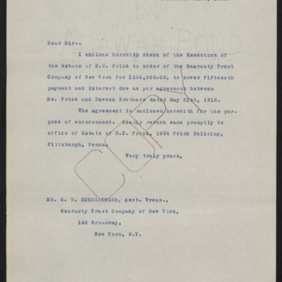 Letter from [Office of the Estate ofHenry Clay Frick] to G.T. Scherzinger, 31 December 1920