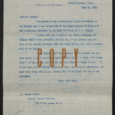 Copy of a letter from [Henry Clay Frick] to Joseph Duveen, 22 June 1916
