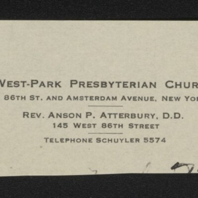 Fragment of stationery from West-Park Presbyterian Church, circa March 1918