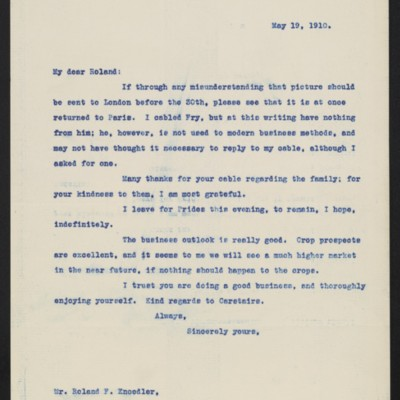 Letter from [Henry Clay Frick] to Roland F. Knoedler, 19 May 1910