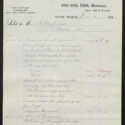 Invoice from M. Knoedler & Co. to Henry Clay Frick, 30 December 1916 [page 2 of 3]