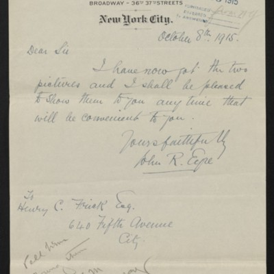 Letter from John R. Eyre to Henry C. Frick, 8 October 1915