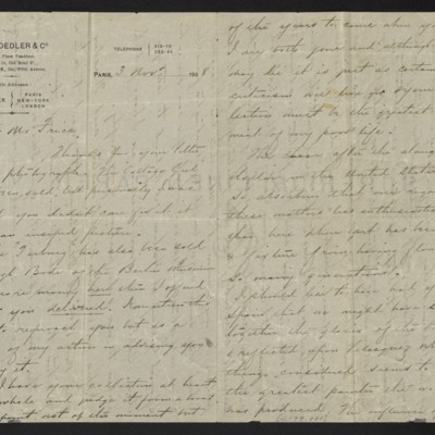 Letter from Charles Carstairs to [Henry Clay] Frick, 3 November 1908 [page 1 of 3]
