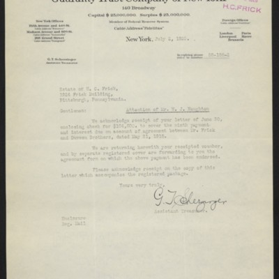Letter from G.T. Scherzinger to Estate of Henry Clay Frick, 2 July 1920