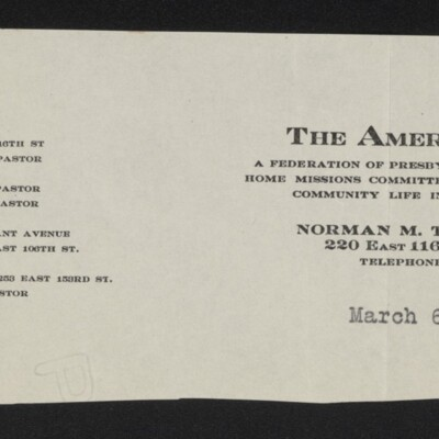 Fragment of stationery of the American Parish, 6 March 1918