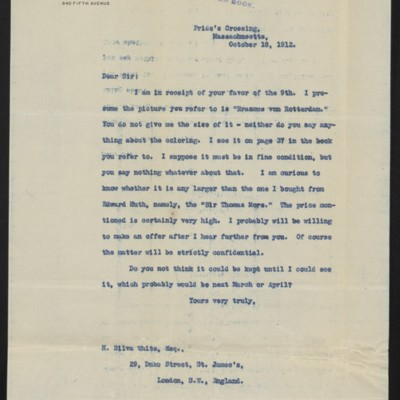 Letter from H.C. Frick to H. Silva White, 18 October 1912