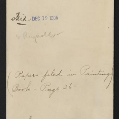 "Envelope entitled ""Paintings ordered of Carstairs,"" 19 December 1906"
