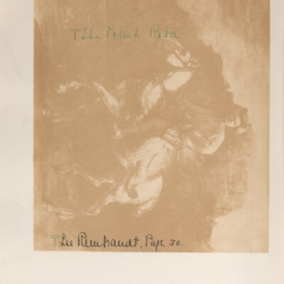 """Catalog of Portraits, 1909-1911, 1929 [unnumbered page facing Rembrandt's """"Polish Rider""""]"""