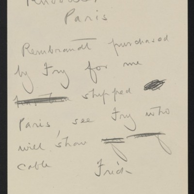 Draft of a cable from [Henry Clay] Frick to [M.] Knoedler [& Co.], circa 3 May 1910