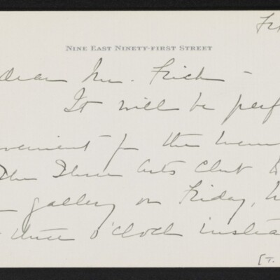 Letter from Emily V. Hammond to [H.C.] Frick, 21 February 1918 [page 1 of 2]
