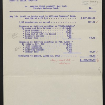 Statement fro Bankers Trust Co to Henry C. Frick, 17 May 1915