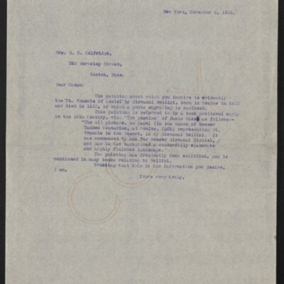 Letter from [Henry Clay Frick] to Mrs. G.S. Selfridge