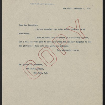 Letter from Henry Clay Frick to Roland F. Knoedler, 3 February 1915