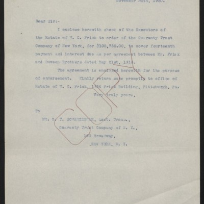 Letter from [Office of the Estate ofHenry Clay Frick] to G.T. Scherzinger, 30 November 1920