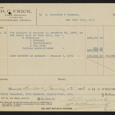 Voucher from H.C. Frick to M. Knoedler & Co. for paintings, etc., 11 January 1906 [back]