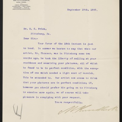 Letter from M. Knoedler & Co. to Henry Clay Frick, 19 September 1900