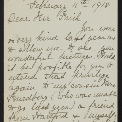 Letter from Agnes Adams to [H.C.] Frick, 11 February 1918 [page 1 of 2]