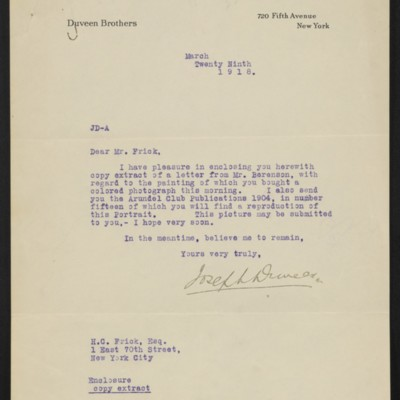 Letter from Joseph Duveen to H.C. Frick, 29 March 1918