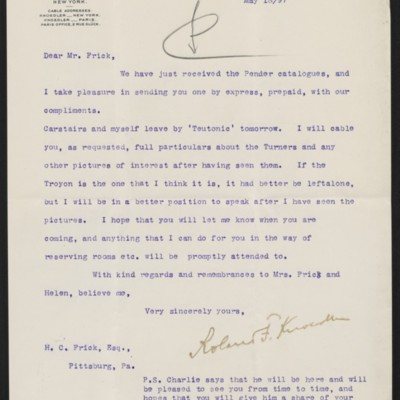 Letter from Roland F. Knoedler to Henry Clay Frick, 18 May 1897